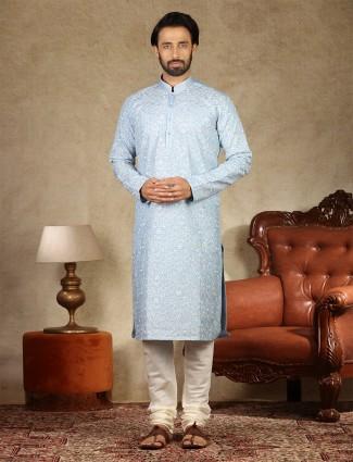 Linen fabric blue kurta suit for festive
