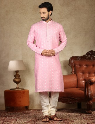 Linen fabric pink kurta suit for festive