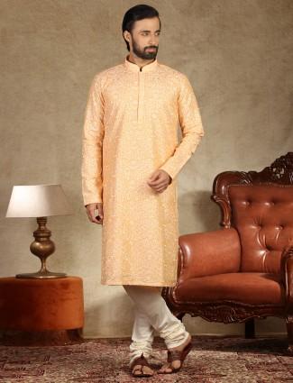 Linen kurta suit festive wear in orange