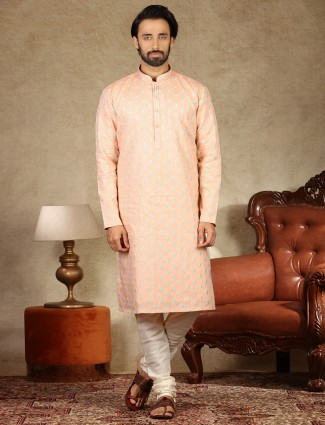Linen peach full sleeve kurta suit