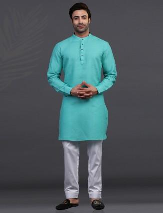 Linen sea green festive kurta suit