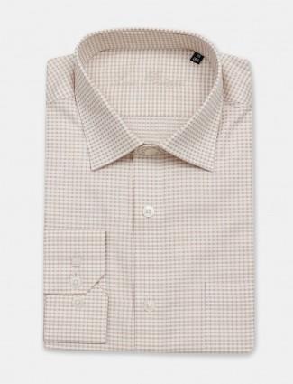 Louis Philippe beige checks slim fit shirt