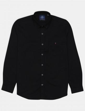 Louis Philippe black cotton casual wear shirt