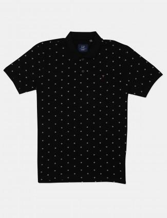 Louis Philippe black printed polo t-shirt