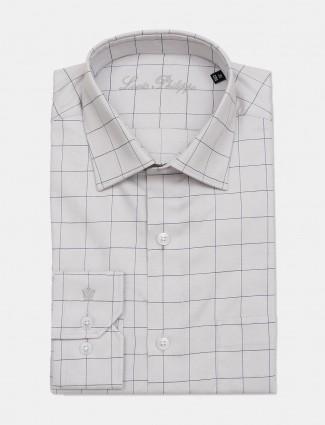 Louis Philippe grey checks slim collar shirt