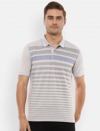 Louis Philippe grey stripe cotton casual t-shirt