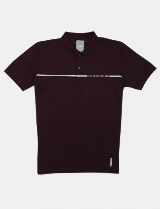 Louis Philippe maroon solid cotton polo t-shirt