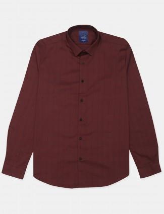 Louis Philippe presented checks maroon casual shirt