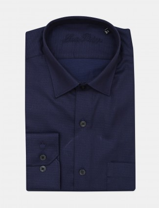 Louis Philippe presented navy hue solid shirt