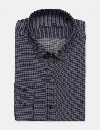 Louis Philippe printed full sleeves navy shirt