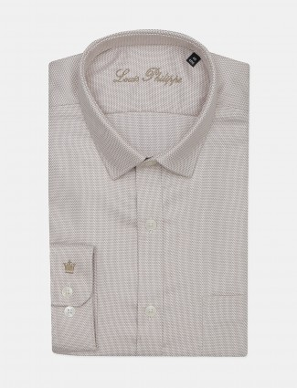 Louis Philippe solid beige hued formal shirt