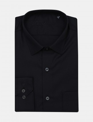 Louis Philippe solid black cotton fabric shirt