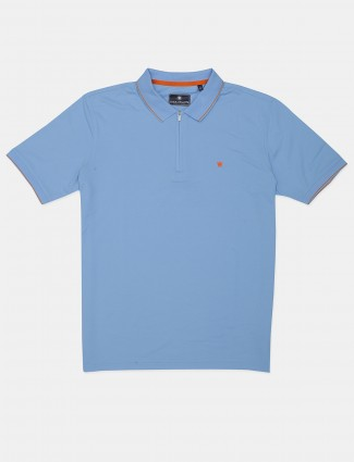 Louis Philippe solid blue polo t-shirt