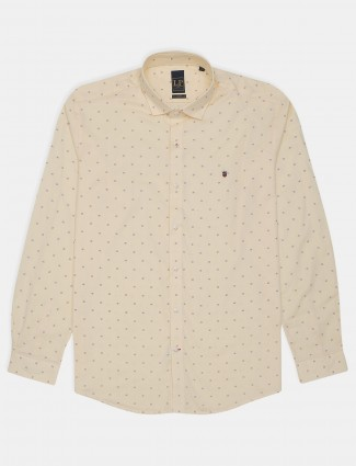 Louis Philippe solid cream cotton casual wear shirt