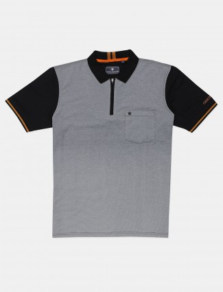 Louis Philippe solid grey cotton casual wear t-shirt