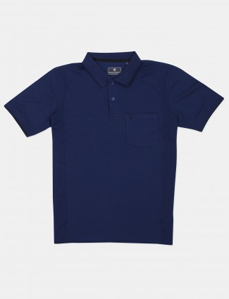 Louis Philippe solid navy casual t-shirt