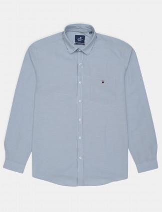 Louis Philippe stone blue cotton casual shirt