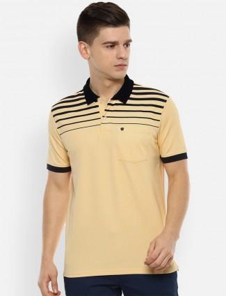 Louis Philippe stripe yellow slim fit cotton t-shirt