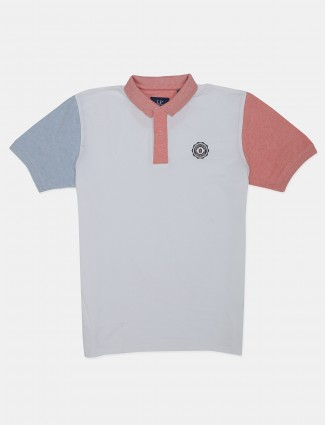 Louis Philippe white solid casual polo t-shirt