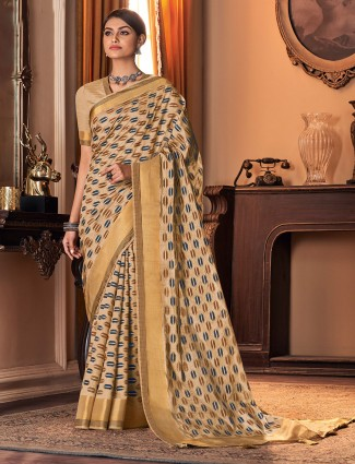 Lovely beige cotton silk sari for festive occasions