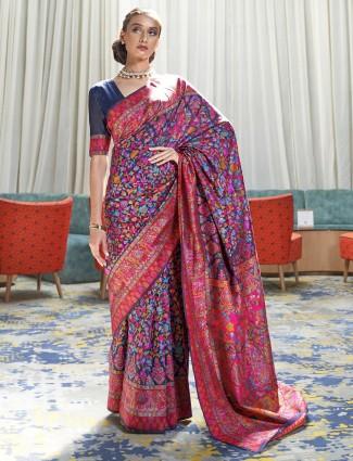 Lovely navy hue lovely pashmina silk printed saree