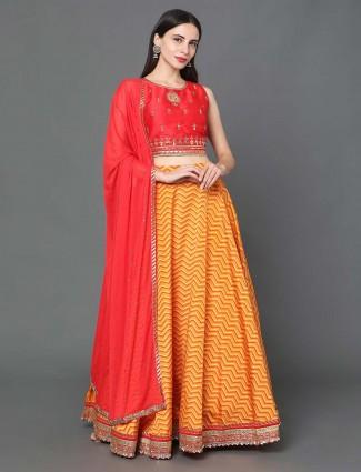 Lovely yellow silk lehenga choli for wedding occasions
