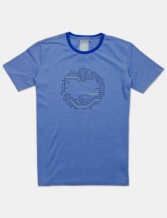 LP printed blue cotton slim fit t-shirt