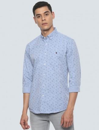LP sky blue printed cotton casual shirt