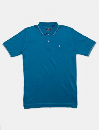 LP solid green cotton casual polo t-shirt