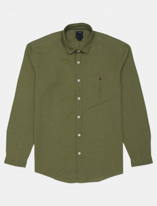 LP solid olive green colored cotton shirt