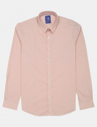 LP solid peach colored cotton casual shirt