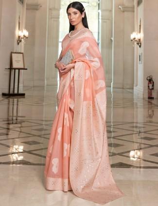 Lucknow silk festive ceremonies saree in peach