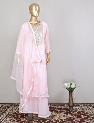 Lucknowi georgette palazzo suit in pink color