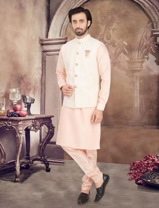 Lucknowi thread woven peach cotton waistcoat set