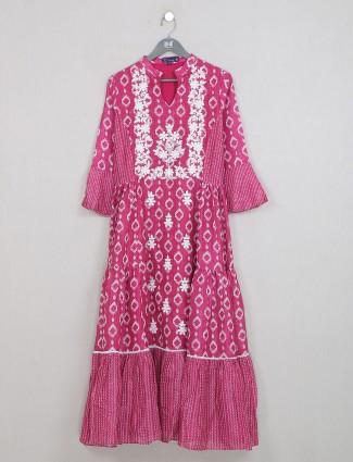Luxuriant dark pink cotton casaul wear kurti