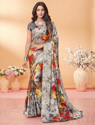 Luxuriant grey printed crepe jacquard saree for festive wear