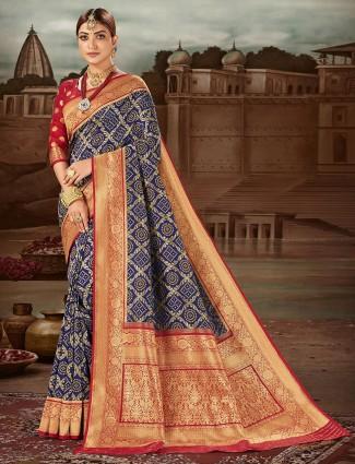 Luxuriant navy banarasi silk wedding wear saree