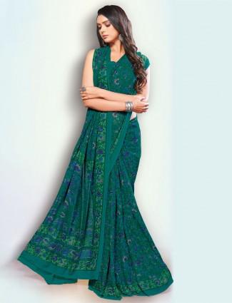 Luxuriant sea green color georgette festive saree