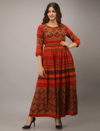 Luxuriant tangerine orange cotton stripe casaul wear kurti