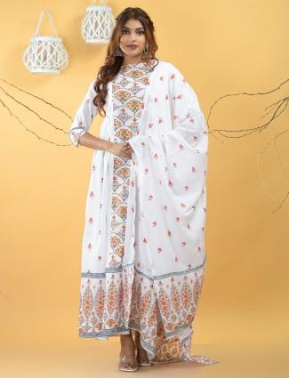 Luxuriant white cotton printed festive wear kurti
