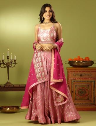 Luxurious wedding style onion pink shade lehenga choli with odhani