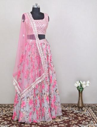 Luxurious wedding style pink shade lehenga with odhani
