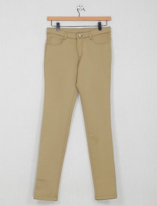 Macrame khaki colored solid trouser