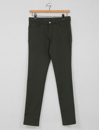 Macrame olive solid casual trouser