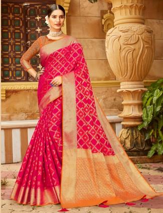 Magenta Amazing banarasi silk wedding session saree