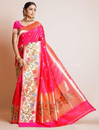 Magenta banarasi paithani silk saree
