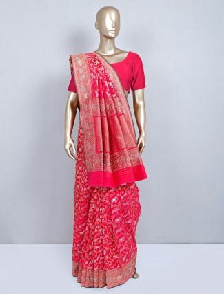Magenta banarasi silk sari for wedding function
