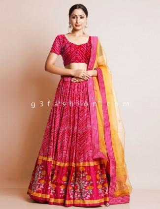 Magenta bandhej silk unstitched lehenga for wedding