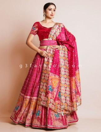 Magenta bandhej silk unstitched reception wear lehenga