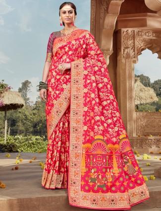 Magenta captivating saree for wedding funtions in banarasi silk